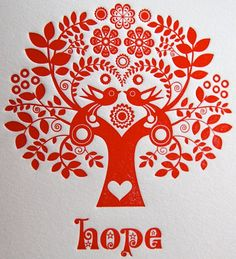 Folk Embroidery Patterns Letterpress Christmas Card Scandinavian Folk Style Red Tree of Life Hope - Scandinavian Folk Art, Scandinavian Christmas, Stencil, Diy Xmas, Folk Embroidery, Embroidery Patterns, Art Patterns, Red Tree, Folk Fashion