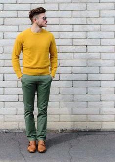Comment associer les couleurs de la tenue masculine sans faute de goût.  Blouse Jaune MoutardePantalon VertComment Marier