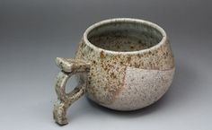 Ceramic Viking mug/Viking cup with bare stone-like clay and transparent pale-green glaze; Handmade pottery; Authentic design for reenactors by StoneCatCeramics on Etsy