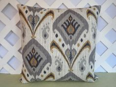 Ikat Pillow Cover Grey Blue Gold Ivory / Grey Ivory Pillow /