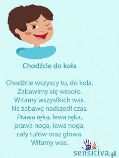 Orientacja w schemacie ciała - Sensitiva.pl Sewing For Kids, Diy For Kids, Infant Activities, Activities For Kids, Polish Language, School Songs, Finger Plays, Kids Logo, Creative Activities