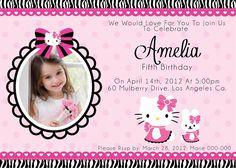 Tarjeta de Invitación para imprimir gratis Hello Kitty