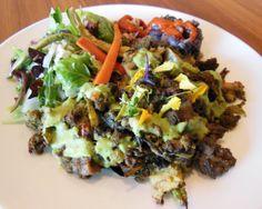 Avanti Who Hash :: House made wheat gluten seitan baked w/ roasted vegetables and a green dill sauce & served w/ a Roasted garlic, cilantro & Asian pear salsa verde + Tangy honey Dijon dressed mixed greens + Roasted vegetable medley + Avanti brunch rice + Avanti brunch black beans :: #healthy #delicious #yum #veggie #vegetarian #natural #organic #Avanti #vegan #brunch #vegan #seitan #wheatgluten