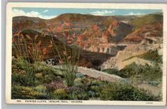 Vintage Postcard / Apache Trail Painted Cliffs / Arizona
