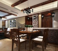 Asian Chinese Classic Style Dining Room Tables | 23,410 High End Dining Table Home Design Photos I especially like the lights