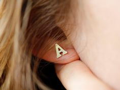 Initial Earrings Tiny Letter Studs Gold Letter by MinimalVS, $60.00
