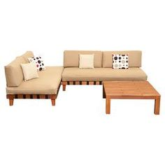 """A stylish addition to your patio or poolside deck, this delightful eucalyptus wood seating group set features 2 loungers and a complementing coffee table.   Product: 2 Chaise lounges and 1 coffee tableConstruction Material: Solid eucalyptus wood and fabricColor: Brown and beigeFeatures: Suitable for indoor and outdoor useDimensions:   Chaise Lounge: 26"""" H  x 35.5"""" W x 71"""" D  Coffee Table: 14"""" H x 34"""" W x 34"""" D"""