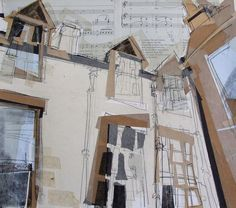 Lucy Jones - Dormer Windows, Hope Park Square. Collage with Monoprint 2014