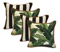 "Amazon.com: Set of 4 - Indoor / Outdoor 17"" Square Decorative Throw / Toss Pillows - Black and White Stripe & Tommy Bahama Green Tropical Swaying Palms w/ Orange Piping / Cording - Zipper Cover & Insert: Home & Kitchen"