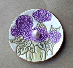 Ceramic Hydrangea Ring Holder Bowl gold edged 3 1/4 inches round  purple flower