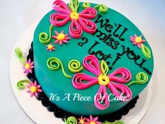Going Away Buttercream w/Fondant Accents, Flower cake, Quilled cake, neon, bright