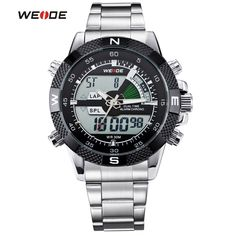 WEIDE Luxury Brand Men Watches Sports Waterproof Military Watch LCD Display Analog Digital Date Alarm Full Steel Wristwatch #Affiliate