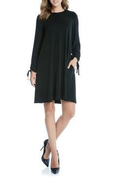 Main Image - Karen Kane Tie Sleeve Swing Dress