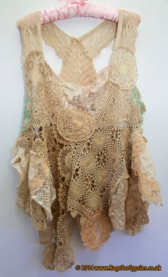 Florica is a ragged and tattered Doily and Vintage Lace Top doili