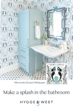 Mermaid Wallpapers, Built In Bar, Future Office, Street House, Nautical Home, Downstairs Bathroom, Dream Bathrooms, Florida Home, Wallpaper Ideas