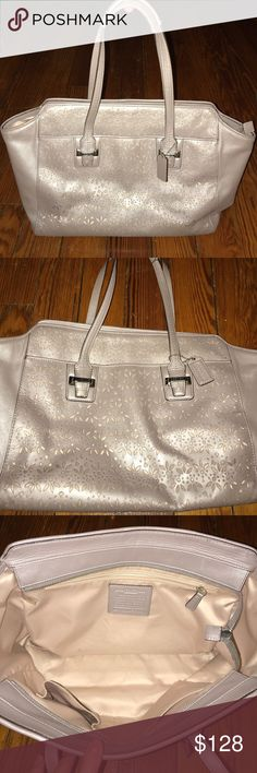 Coach - TAYLOR EYELET LEATHER CARRYALL Coach - TAYLOR EYELET LEATHER CARRYALL COLOR SILVER/PUTTY - USED Coach Bags Totes