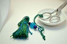 Scissors Fob with Beaded Tassel - Custom Color by lizbethsgarden on Etsy