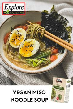 Enjoy a delicious, healthy bowl of Miso Noodle Soup with Edamame Noodles! This quick and easy recipe is perfect for the Asian-cuisine lover; pour chicken broth over garlic cloves, ginger, onion, miso, and noodles! #easypastarecipe #misosoup #vegannoodles Miso Soup, Edamame Noodles, Edamame Spaghetti, Easy Pasta Recipes, Plant Based Recipes, Quick Easy Meals, Onion, Garlic
