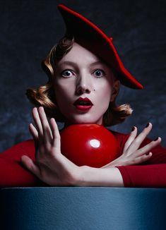 Photographer: Elizaveta Porodina. The models expression reminds me of Salvador Dali #fashion #model #red #makeup