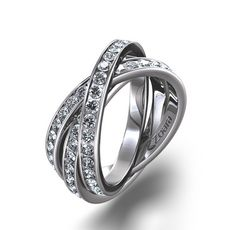 Eternity Ring with 2 interlocking rings 2/3qt.  Platinum