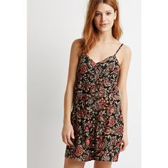 Love 21 Floral Foliage Cami Dress ($23) ❤ liked on Polyvore