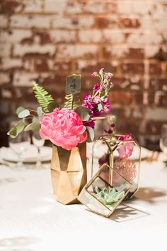 geo wedding decor - photo by A.J. Dunlap Photography http://ruffledblog.com/brightly-colorful-sequined-wedding