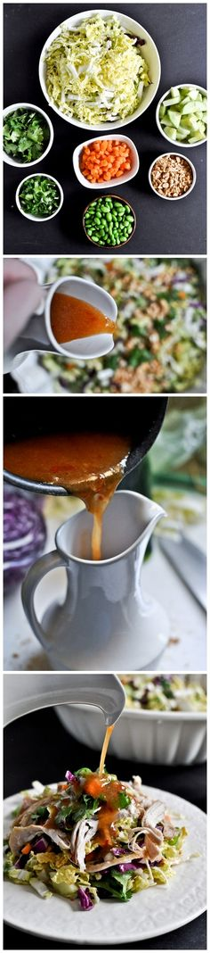 Thai Crunch Chicken Salad - dressing made from sweet chili sauce, coconut milk, rice vinegar, peanut butter, ginger etc. Thai Crunch Salad, Asian Recipes, Healthy Recipes, Clean Eating, Healthy Eating, Chicken Salad, Thai Chicken, Soup And Salad, I Love Food