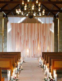 Ribbon / fabric wedding backdrop | Unique Wedding Backdrop Ideas - Part 1