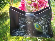 Vintage Purse / Handbag Hand Painted Black Leather  for  Women or Teenage Girls on Etsy, $25.00