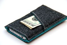 iPhone sleeve / iPhone case / iPhone cover - Dark Gray and Turquoise - Weird.Old.Snail via Etsy
