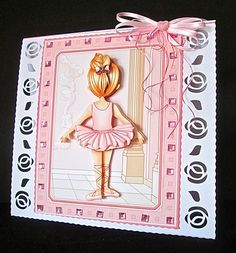LITTLE BALLERINA 7 5 Decoupage   Insert Mini Kit on Craftsuprint created by Cynthia Massey - Trimmed away some of the border and mounted onto my card blank with roses borders, decoupaged with foam pads, added square pink gems around the border, used sparkle pen on the bottom of the dress and the laces, added a pearl bow to hair and a co-ordinating bow,  I added the ballet shoes to the inside of the card.