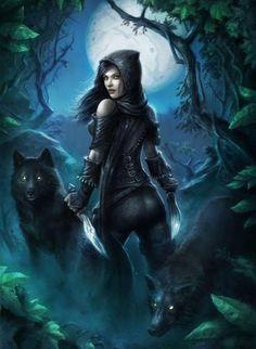 Vampire Girl And Werewolf Square Diamond Painting