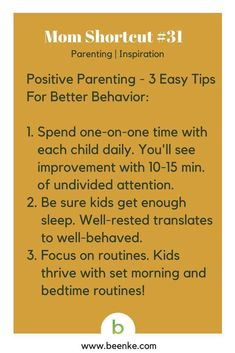 Parenting and Inspiration Shortcuts: Positive parenting - 3 easy tips for better behavior. Visit Beenke now for MORE awesome mom hacks. Get your daily source of life hacks and parenting tips!.#beenke #MomShortcuts #parentingtips #parentinghacks