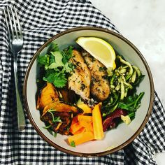 Herby Basa fish with zucchini zoodles Recipe: https://passionprojects.com.au/blogs/news/fish-and-pumpkin-salad