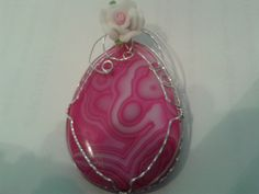 Pretty Pink Agate Pendant Wire Wrapped in Sterling Silver with a Pretty Pink Rose by MamaGotRocksJewelry on Etsy