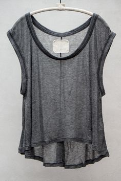 V::ROOM  TENCEL CASHMERE RIB TANK TOP — CHARCOAL