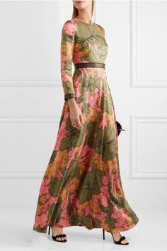 Roksanda - Kamanev Leather-trimmed Floral-print Silk-twill Gown - Green - UK