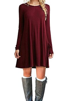 DEARCASE Women's Long Sleeve Casual Loose T-Shirt Dress at Amazon Women's Clothing store: