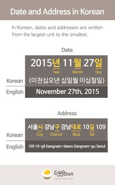 Check out the typical format for the date and address in Korean!