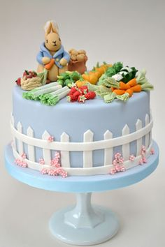 Peter Rabbit Birthday cake by Rosalind Miller Cakes. SO CUTE!