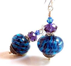 Blue Purple Earrings, Glass Beaded Earrings, Handmade Lampwork. Gift for Her