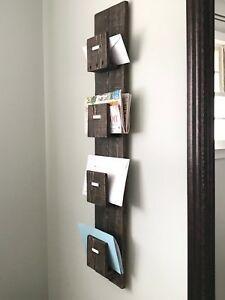 Mail Organizer Sorter Slot Letter Key Holder Wood Wall Mount Entry Storage Rack Ebay Mail Organizer Wall Mail
