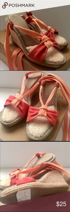 Two (2) pairs UGG Sandals PINK & MULTI colored 7 Two (2) pairs of Brand New Amelie Sandals, the Coral and one Aqua color. I love the way these fit, they also are very flattering on your feet for the summer and super comfortable for all day wear. UGG Shoes Espadrilles