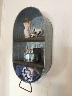 Galvanized wash tub with shelves wall hanging farmhouse shelf rustic bathroom shelf mudroom laundry washtub cupboard Rustic Bathroom Shelves, Bathroom Cupboards, Rustic Bathroom Designs, Bathroom Red, Rustic Bathrooms, Bathroom Canvas, Parisian Bathroom, Concrete Bathroom, White Bathrooms