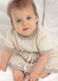 Free Knitting Pattern - Baby Knits: Short Sleeve Lace Baby Dress http://www.coatscrafts.co.uk/Knitting/Projects/baby_lace_dress.htm