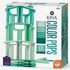Construct colorful and creative works of art with KEVA Color Pops - Teal.  Building with these precision-cut, quality-stained planks is an ideal way to experiment with balance and proportion, gain an interest in architecture and learn about color theory. Ages 5 and up.