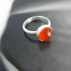 Faceted Carnelian Ring in Sterling Silver 65 by catherinechandler. $130.00, via Etsy.
