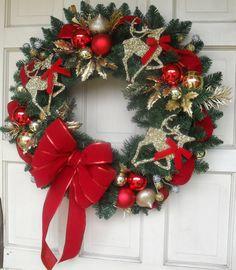 "CustomCraftsbyLynn in Dallas, Texas SPECIAL PRICE BEAUTIFUL Traditional Design 24"" Christmas Wreath... $50.00 USD"