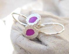 Roze Earrings.Sterling Zilver bengelen earrings.light gewicht
