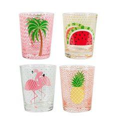 Set von vier Tropical Summer Gläser/Water Drink Gläser mit bunten Palme, Ananas, Melone und Flamingo Design